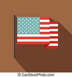 American flag icon , flat style