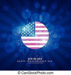 american flag icon in blue background
