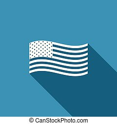 American flag icon isolated with long shadow. Flag of USA. Flat design. Vector Illustration