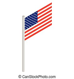 American flag icon, isometric 3d style