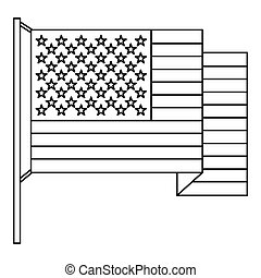 American flag icon , outline style