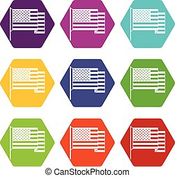 American flag icon set color hexahedron