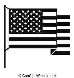 American flag icon , simple style