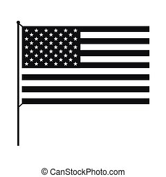 American flag icon, simple style
