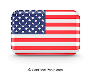 American flag icon.Isolated on white background.3d rendered.