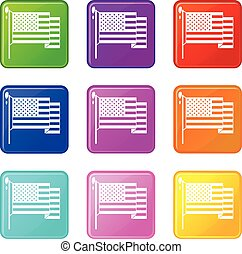 American flag icons 9 set