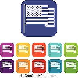 American flag icons set flat