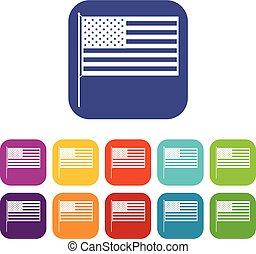 American flag icons set