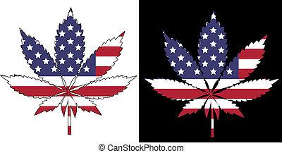 American Flag - Marijuana American Flag - isolated and on...