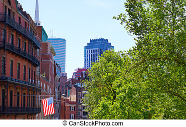 American flag in Boston near Common