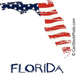 American flag in Florida map. Vector grunge style