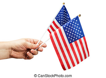 American flag in hand isolated