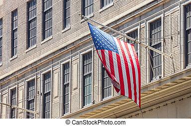 American flag in Manhattan New York downtown
