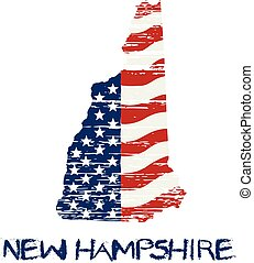 American flag in new hampshire map. Vector grunge style