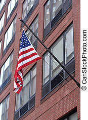 American flag in New York city, USA