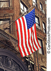 American flag in New York city. USA