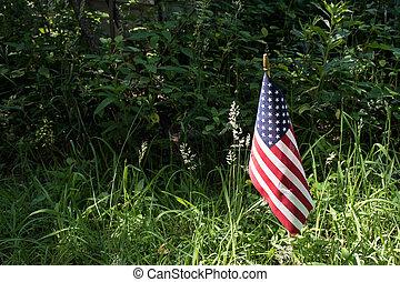American flag in sunshine