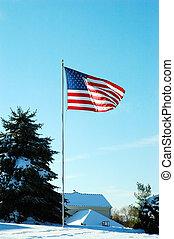 American Flag in Winter