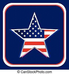 american flag inside star background