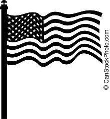 american flag - isolated black and white drawing of the flag...