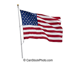 American flag isolated on white - American flag flying in...