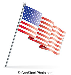 American Flag, isolated on white, vector illustration
