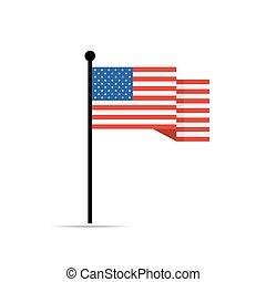 American flag isolated. Vector illustration.