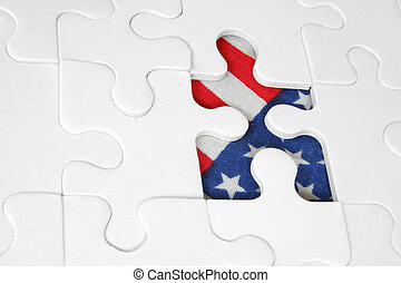 Jigsaw with American flag showing through missing piece