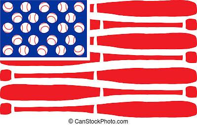 American flag made of bats and balls. Vector illustration.