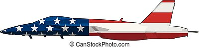 Sharp military fighter jet aircraft silhouette, adorned with USA flag stars and stripes, isolated vector illustration for easy editing.