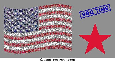 American Flag Mosaic of Confetti Star and Grunge BBQ Time Seal