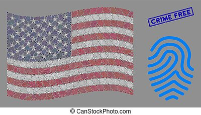 American Flag Mosaic of Fingerprint and Scratched Crime Free Stamp