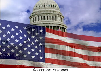 American flag on a background of the white house. NTSC