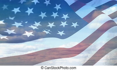 American flag on a bright cloudy sky