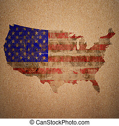 American flag on a map of the USA in vintage style