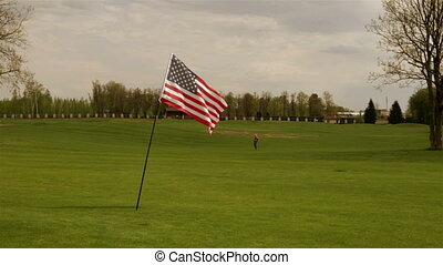 American flag on a meadow