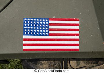 American Flag on a Military Vehicle