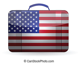 American flag on a suitcase for travel illustration design