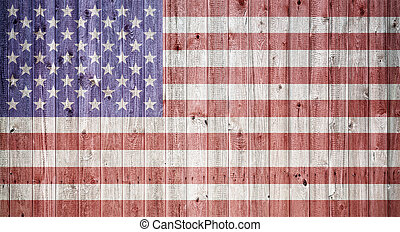 American flag on a wheatered wooden vintage background -...