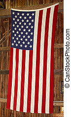 American Flag on Barn Wall