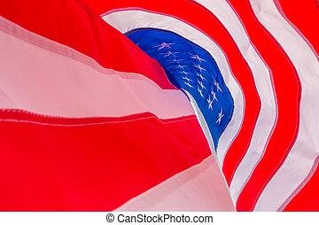 American flag on blue sky . - American flag on blue sky