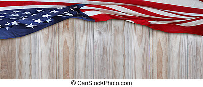 American flag on boards - American flag and wooden boards