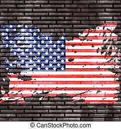 american flag on brick wall 2006
