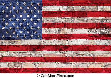 american flag on brick wall