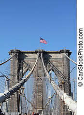 American flag on Brooklyn Bridge