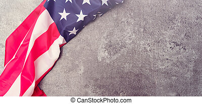American flag on gray background