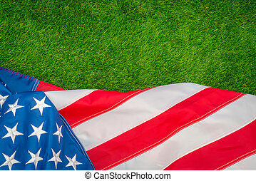 American flag on green grass