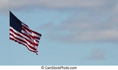 American Flag on July 4th - American Flag Flying High on...