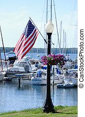 American Flag on Lamppost