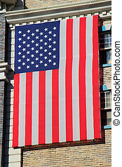 American flag on New York - New York hotel and casino building,